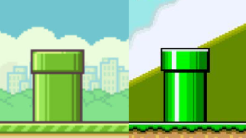 Kotaku made this comparison image between Mario World and Flappy Bird. Which is which?